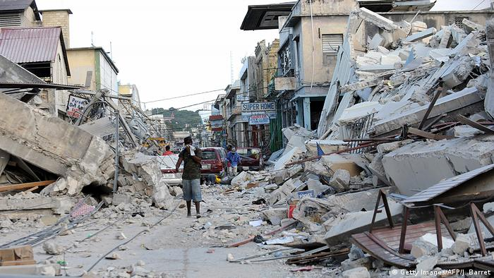 Rubble on a street in Haiti following the 2010 earthquake