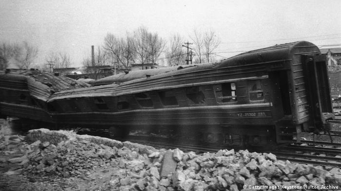 An abandoned railway coach damaged in the 1976 Tangshan, China earthquake (Getty Images/Keystone/Hulton Archive)
