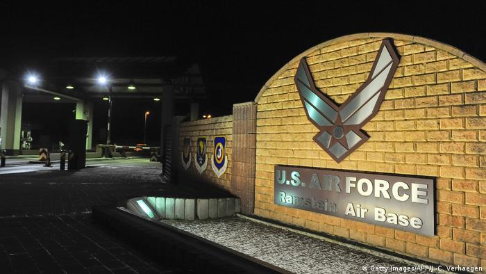A picture taken on January 17, 2016 shows the logo at the entrance of the US Air base in Ramstein