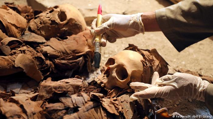 An archeologist dusts the skulls in a recently discovered Egyptian tomb.