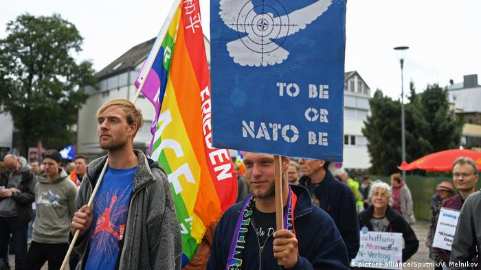 Protests at the Ramstein US army base in Germany