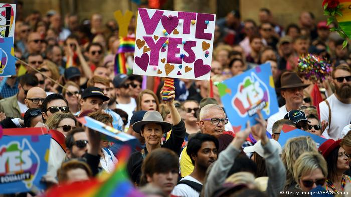 Australians march for same-sex marriage in Sydney.