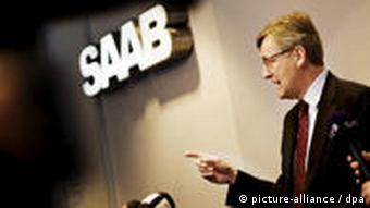 SAAB Managing Director Jan Ake Jonsson speaks during a press conference