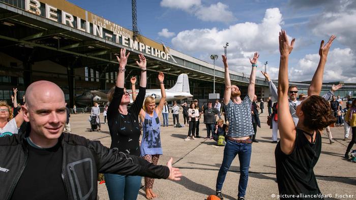 People dancing at Tempelhof airfield