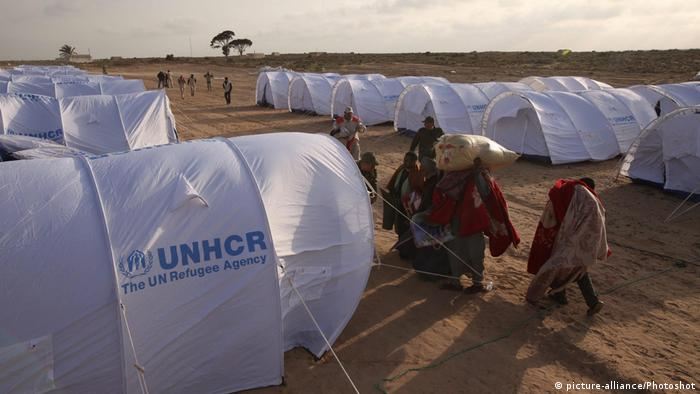 UNHCR tents at a refugee camp in Libya