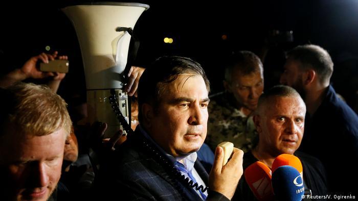 Saakashvili speaks after entering Ukraine from the Polish border