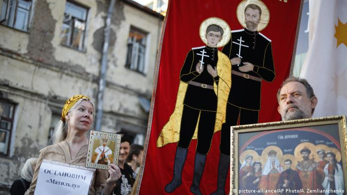 'Matilda' protesters hold images of the czar