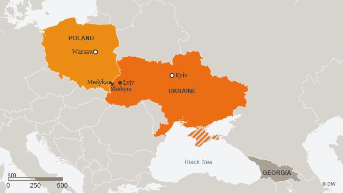 Karte Ukraine Polen Medyka Shehyni ENG