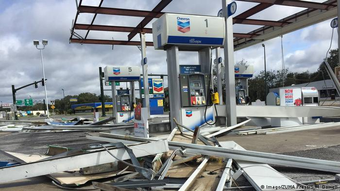 A damaged petrol station near Orlando, Florida after Irma