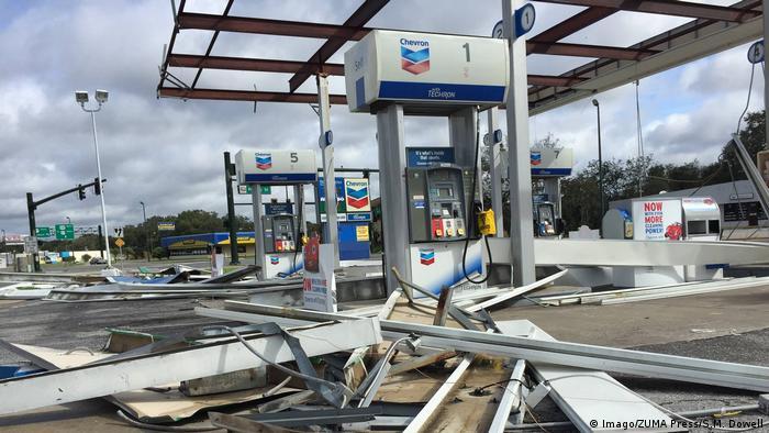 A damaged petrol station near Orlando, Florida after Irma