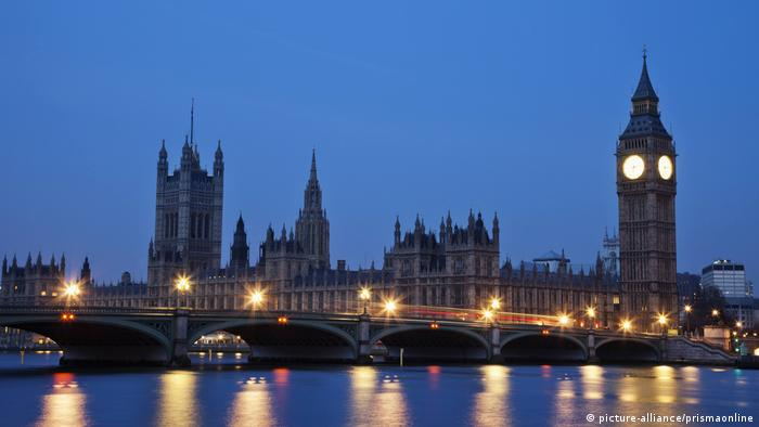 Palace of Westminster and Houses of Parliament in London as seen across the River Thames