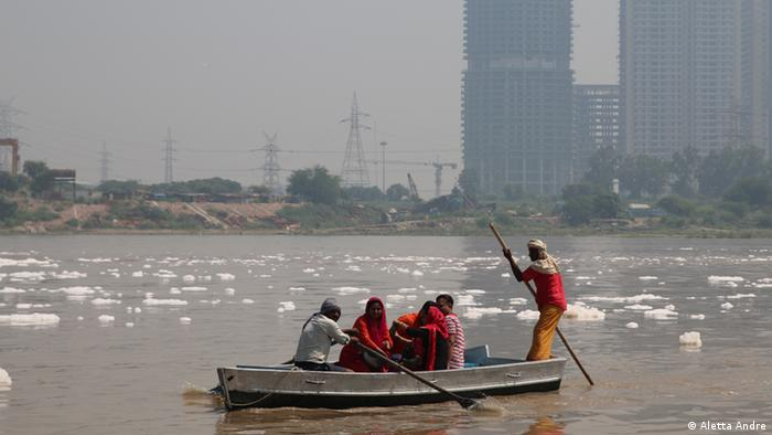 A view of skyscrapers in Delhi's satellite city Noida, from the Delhi side of the river Yamuna