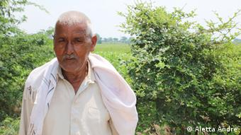 Farmer Mange Ram next to his fields close to Palla village in the outskirts of Delhi