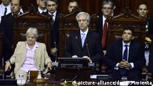 epa04643296 Uruguayan new President Tabare Vazquez (C) delivers a speech next to Uruguayan Senate's President, Lucia Topolansky (L) during his investiture ceremony at the Legislature Palace in Montevideo, Uruguay, 01 March 2015. Vazquez was elected President on 26 October 2014 and reassumes office from former President Jose Mujica, It is Vazquez's second term after being incumbent from 2005 to 2010. EPA/GASTON PIMIENTA |