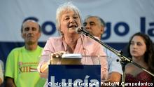 Uruguayan Sen. Lucia Topolansky, the wife of outgoing President Jose Mujica, speaks during a rally where she launched her campaign for mayor, in Montevideo, Uruguay, Saturday, March 7, 2015. Topolansky is an outspoken senator, former Tupamaro guerrilla and key member of her country's ruling Broad Front coalition. Departmental and municipal elections in Uruguay are scheduled for May 10. (AP Photo/Matilde Campodonico) |
