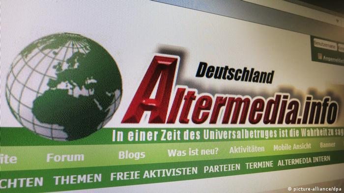 A screen shot of the neo-Nazi website Altermedia Deutschland