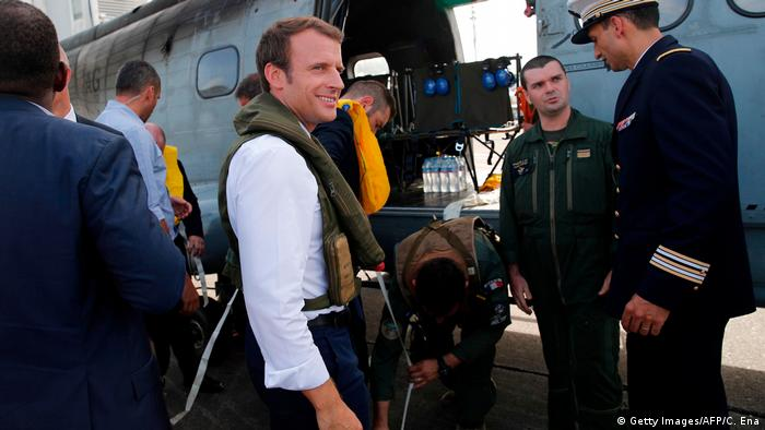 French President Emmanuel Macron's plane brought in emergency supplies and doctors to assess damage in the Caribbean