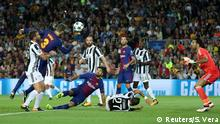 Soccer Football - FC Barcelona vs Juventus - Camp Nou, Barcelona, Spain - September 12, 2017 Barcelona's Gerard Pique shoots at goal as Juventus' Gianluigi Buffon looks on REUTERS/Susana Vera