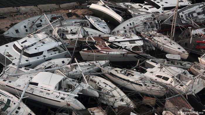 Wrecked boats on Sint Maarten