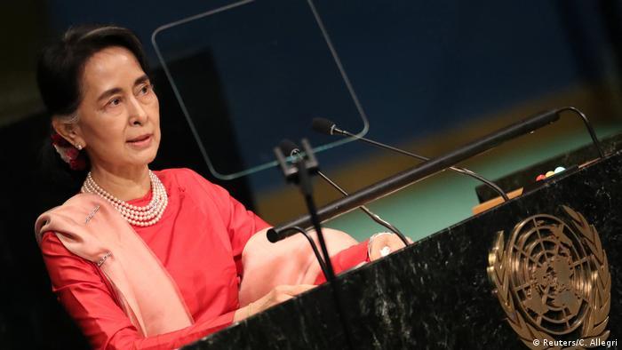 Myanmar Aung San Suu Kyi Rede vor der UN Vollversammlung in New York 2016 (Reuters/C. Allegri)