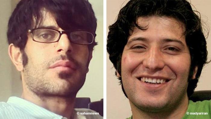 Kombibild von zwei im Iran inhaftierten Journalisten, Sasan Aghaie und Yaghma Fashkhami