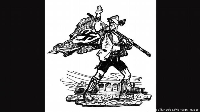 Мужчина в кожаных шортах на плакате времен национал-социализма