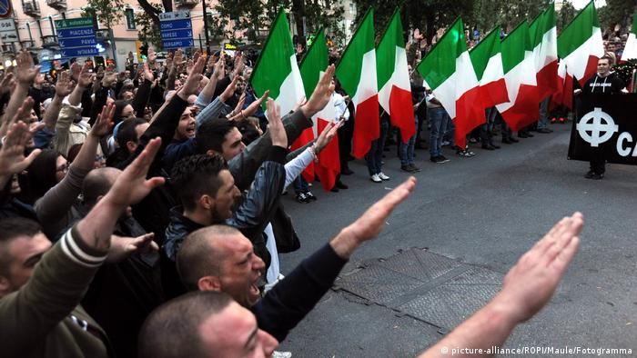 Forza Nuova, a neo-fascist party, has rallied in major cities, including Milan. This photo, from April 2014, shows a large number of supporters carrying out a Hitler salute with their outstretched right arms.