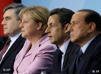 Brown, Merkel, Sarkozy and Berlusconi sitting next to each other