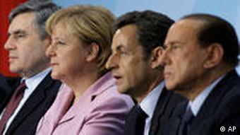 Prime Minister of Britain Gordon Brown, German Chancellor Angela Merkel, President of France Nicolas Sarkozy, and Prime Minister of Italy Silvio Berlusconi