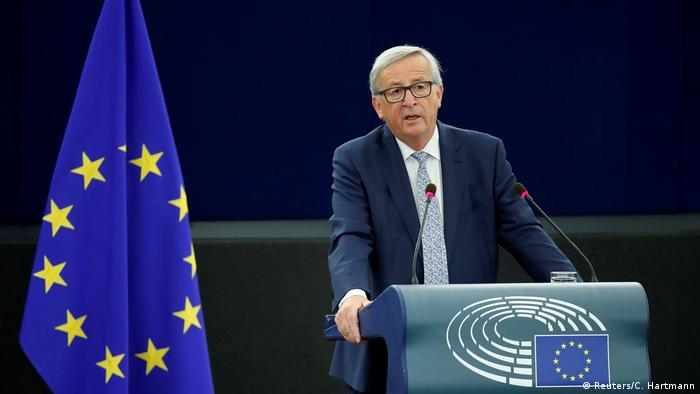 European Commission President Juncker addresses the European Parliament during a debate on The State of the European Union in Strasbourg (REUTERS)