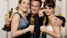 From left, British actress Kate Winslet holds the Oscar for best actress for her work in The Reader, Sean Penn holds the Oscar for best actor for his work in Milk, and Spanish actress Penelope Cruz holds the Oscar for best supporting actress for her work in Vicky Cristina Barcelona during the 81st Academy Awards Sunday, Feb. 22, 2009, in the Hollywood section of Los Angeles. (AP Photo/Matt Sayles)