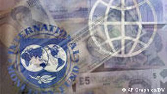 IWF und Weltbank Logo mit Geld verschiedener Währungen (Grafik: AP/DW)