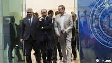 Dominican President Danilo Medina (C) leaves accompained by Dominican Foreign Minister Miguel Vargas (L) and former President of the Spanish Government Jose Luis Rodriguez Zapatero (R), one of the mediators in the dialogue promoted by the Union of South American Nations (Unasur) in Venezuela, in Santo Domingo, Dominican Republic, 13 September 2017. Zapatero urges dialogue a day after it was announced that the Venezuelan government and opposition could start a contact on Wednesday in the Dominican Republic. Mediators of the Venezuelan dialogue meet in Dominican Republic !ACHTUNG: NUR REDAKTIONELLE NUTZUNG! PUBLICATIONxINxGERxSUIxAUTxONLY Copyright: xOrlandoxBarríax STO 20170914-636409602381473779