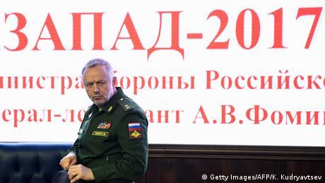 Russia Deputy Defense Minister Alexander Fomin stands in front of a Zapad war games' sign (Getty Images/AFP/K. Kudryavtsev)
