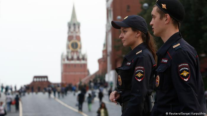 Police patrol the area near Red Square and the Kremlin in Moscow after a bomb threat nearby