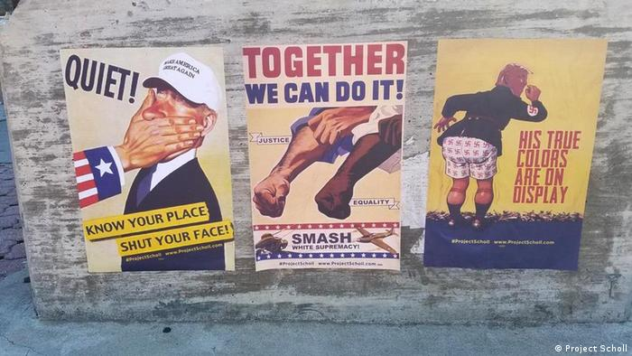 Posters of the US Project Scholl against Trump (Project Scholl)