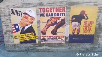 Drei Plakate von Russel in Washington (Project Scholl)
