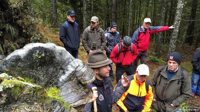 Eine Gruppe von Wanderern in einem alpinen Wald