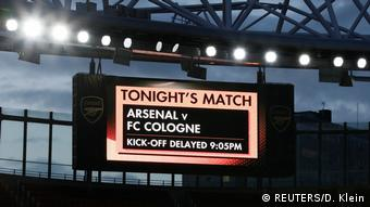 Arsenal vs 1. FC Koln - Emirates Stadium, London, Britain - September 14, 2017 General view of a big screen inside the stadium displaying information that the match is delayed
