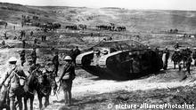 After the taking of Guillemont on the Somme. A C Company, Mark I tank (C.19 Clan Leslie) Chimpanzee Valley, 15th September 1916 Tanks first went into action on this day 15th September 1916 – World War I: Tanks are used for the first time in battle, at the Battle of the Somme. |