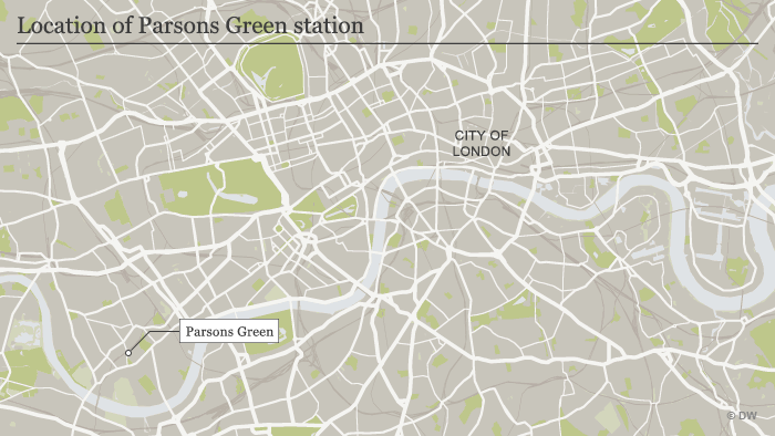 A map of London showing the Parsons Green train station