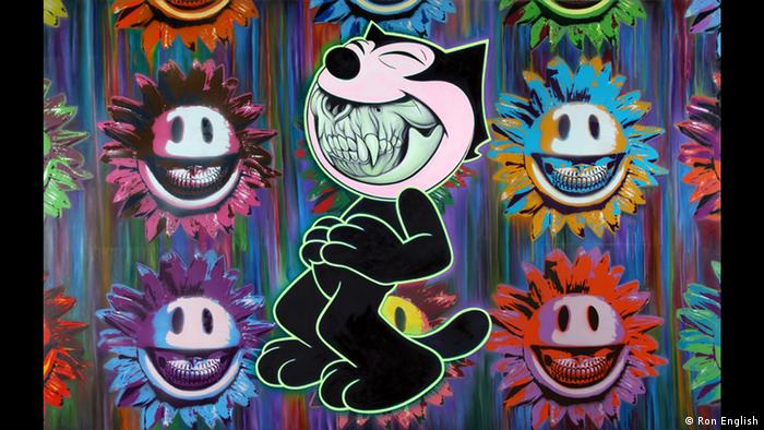 Street art grinning Felix the Cat by Ron English (Ron English)