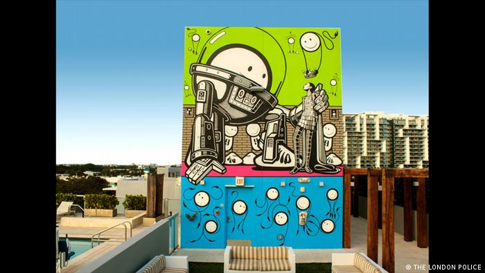 Astronaut at a Miami Beach villa, art by The London Police (THE LONDON POLICE)
