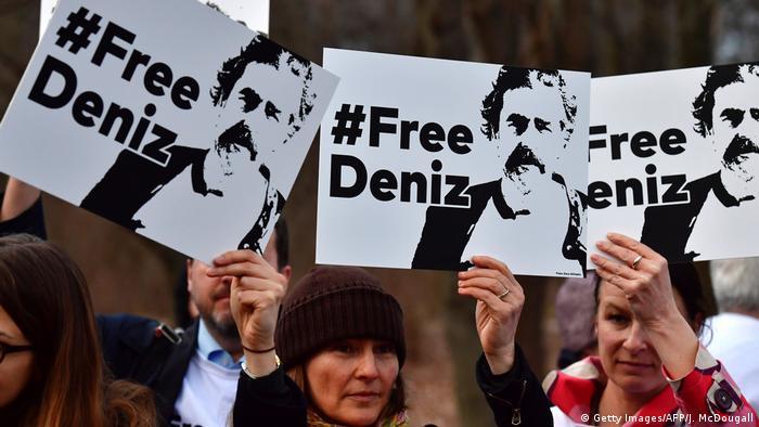 Протест проти затримання журналіста Деніза Юджела у Берліні, лютий 2017 року