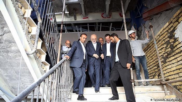 Ali Akbar Salehi, head of Iran's nuclear authority, visits a nuclear power academy