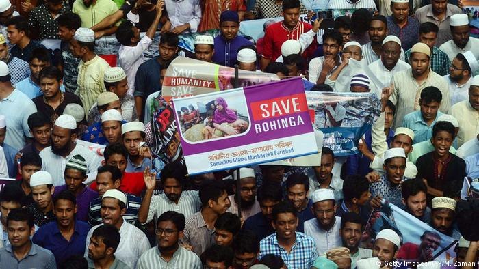 Bangladesch Anti Myanmar Demonstration Rohingya Verfolgung