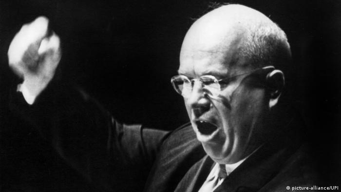 Soviet Premier Nikita Khrushchev addressing the UN in 1960. Here he's waving his fist, rather than his shoe