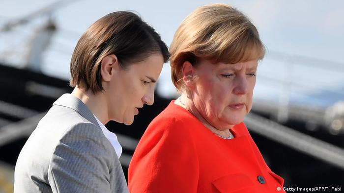 Italien Merkel und Brnabic (Getty Images/AFP/T. Fabi)