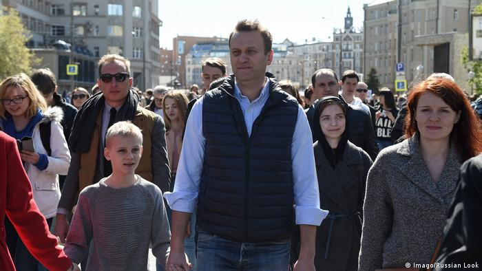 Alexei Navalny during a march on a street in Moscow