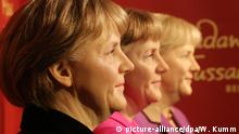 Berlin models of Angela Merkel at Madame Tussauds